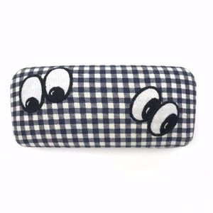 Madewell Sunglass Case Gingham Embroidered Eyes